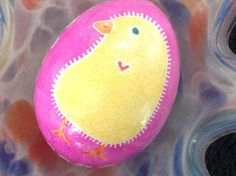 Chickadee on Pink.  Real Chicken Egg hollowed and dyed with wax resist technique QEG065 – Tamm's Marketplace