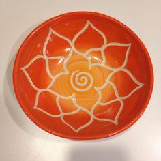 Orange Lotus Porcelain Bowl