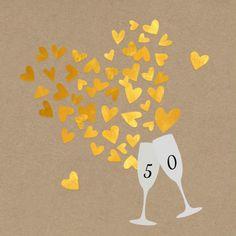Jubileum 50 gouden hartjes, verkrijgbaar bij #kaartje2go voor € 1,79
