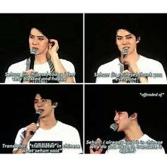 Cute offended Sehun actually the translater is pretty stupid here:P