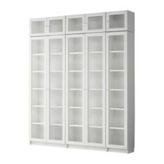 IKEA BILLY/OXBERG Bookcase White/glass 160 x 30 x 202 cm Adjustable shelves; adapt space between shelves according to your needs. Bookcase With Glass Doors, Glass Cabinet Doors, Ikea Billy, Ideas De Closets, Ikea Bookcase, Bookcase White, Corner Bookshelves, Billy Oxberg, Bathroom Cabinets