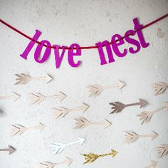 """FREE Valentine's Day printable: a darling """"love nest"""" banner that you can make by hand or using the latest Cricut machine."""