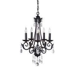 Embellish your favorite living space with the quaint sophistication of the Nadia five-light chandelier. This effulgent fixture spotlights decorative crystal accents and a stunning black finish.
