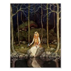 Princessen i skogen poster - John Bauer