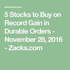 5 Stocks to Buy on Record Gain in Durable Orders - November 28, 2016 - Zacks.com