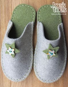 Gray & Green Felt Slipper - Star and Button A completely handstitched wool felt slipper with a felt star and button trim. Designed and made here at Joe's Toes HQ. If you'd like it a different colour combination just add a note at checkout. Sewing Slippers, Felted Slippers, Crocheted Slippers, Felt Shoes, Baby Shoes, Green Slippers, West Yorkshire, Shoe Pattern, Felting Tutorials