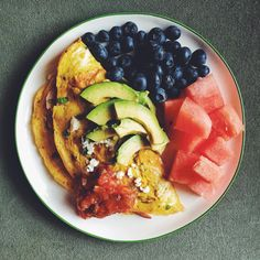 Bleh, definitely do not feel like cooking at all today, but I made myself at least put something together for breakfast. SIGHHH I wanna be lazy  2-egg omelet filled with cheddar and Canadian bacon, topped with goat cheese, salsa,  and avocado. Blueberries and watermelon. 346 calories.