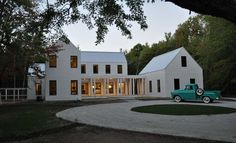 In love...white with black windows and metal roof.  Modern, but comfortable architect, modern farmhouse, country houses, truck, dream, black windows, modern farm house, modern black farmhouse, farm houses