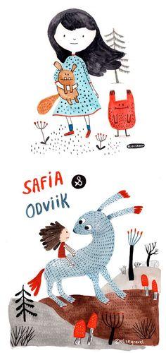 Elise Gravel illustration • Watercolor • monsters • cute • creatures • children • girl • art • kids • drawing •: