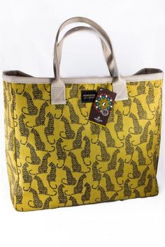 Mongoose Carry Bag. Shop online at www.GoodiesHub.com Mongoose, Carry Bag, Large Bags, African, Fabric, Pattern, Cotton, Leather, Shopping