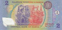 Backside of Samoa Specimen Polymer Banknote. The stamp says it is specimen number 810.