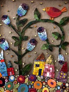 Vila de casinhas, material smalti, patina de fundo. By Schandra Mosaicos