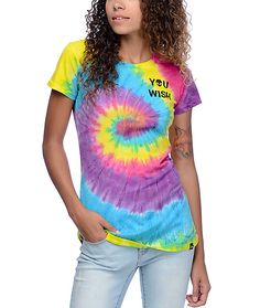 """Trip out on the rainbow tie dye colorway of the Alien Swirl t-shirt from JV By Jac Vanek. This swirled tie-dye t-shirt features a black screen printed """"You Wish"""" logo on the left chest and an alien head swirl on the back."""