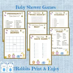 Safari Jungle Baby Shower Games Package 7 Printable Games * Name Race  *Bingo *Word Scramble *word search *pregnancy how sweet it is *What's in your purse? *Who knows mommy best? Plus you get a freebie Gift tags !!! #safaribabyshower #junglebabyshower #animalbabyshower #freeprintablegifttag #etsypartyshop #partydigitalfiles #babyshowergames
