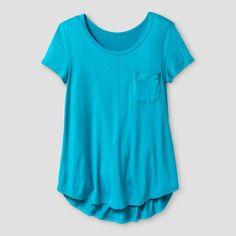 Girls' Short Sleeve V-Neck Solid T-Shirt Art Class -Teal XL, Girl's, Blue