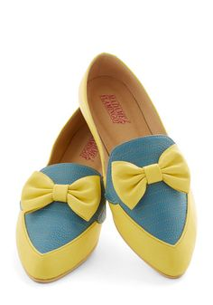 Gelato Getaway Flat in Lemon - Flat, Leather, Yellow, Blue, Solid, Bows, Party, Menswear Inspired, Colorblocking, Best, Variation