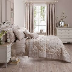 Natural Laura Jacquard Bed Linen Collection | Dunelm