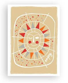 folk sun birthday card // rock scissor paper
