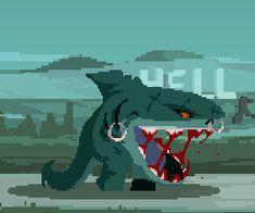 Arte 8 Bits, Scary Drawings, Cool Pixel Art, Animated Gifs, 8bit Art, Pixel Animation, Pixel Art Games, Fantasy Monster, Arte Horror