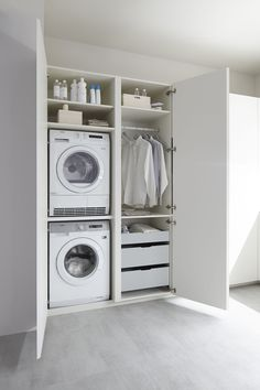 50 Beautiful and Functional Laundry Room Design Ideas Laundry room decor Small laundry room ideas Laundry room makeover Laundry room cabinets Laundry room shelves Laundry closet ideas Pedestals Stairs Shape Renters Boiler Laundry Cupboard, Utility Cupboard, Laundry Room Cabinets, Laundry Closet, Laundry Room Organization, Laundry Room Storage, Laundry In Bathroom, Storage Room, Wall Cabinets