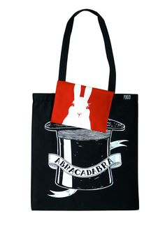 ABRACADABRA, Jutebeutel mit Innentäschchen, Hase // tote bag with inside pocket, rabbit by PUKIZO via dawanda.com
