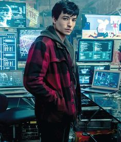 Ezra Miller hs introduced a casual style for all the justice league fans by wearing this Barry Allen Red Checkered Plaid Flannel Jacket as fastest man alive
