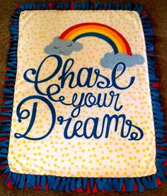 Chase your dreams fleece tie blanket, reversible tie blanket. Shop here: https://www.etsy.com/listing/235514177/chase-your-dreams-fleece-tie-blanket?ref=shop_home_active_14 #simpleesweetboutique
