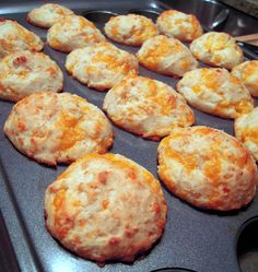 Better than red lobster's Cheesy Biscuits   1 1/2 cups Bisquick 3/4 cup buttermilk 3 Tbps sugar 1/4 tsp vanilla 1 cup cheddar cheese, shredded  Preheat oven to 425.  Stir together all ingredients just until combined.  Scoop into a mini muffin pan coated with cooking spray.  Bake 12-15 minutes, until golden.  **I used a medium cookie scoop and got 20 muffins**
