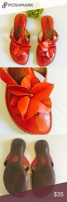 Born heeled sandals Beautiful orange/red leather sandals made by born. Has minimal signs of wear. There's a little bit of staining in the foot beds from wear. Born Shoes Sandals