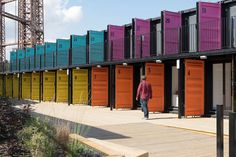 Containerville is a new great home for start-ups and pop-ups. 30 shipping containers have been up-cycled into modern work spaces by the Regents Canal. Each container can comfortably accommodate 4 desks and is fitted out to function perfectly as a. Shipping Container Office, Shipping Container Conversions, Shipping Container Design, Shipping Containers, Container Hotel, Container Van, Cargo Container, Container Home Designs, Sea Containers