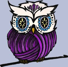 borrowed the yarn owl idea and tried to make it my own. added some elements that I love, (crochet hook, sugar skull head, PURPLE) thinking about making this little guy the logo for my crochet site. :)