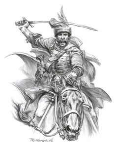 Lisovchik, the first quarter of the XVII century. Black Pen Sketches, Character Art, Character Design, Savage Worlds, Armor Tattoo, Military Tattoos, Japanese Tattoo Designs, Ukrainian Art, Drawing Expressions