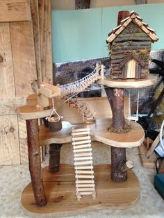 Wood Crafts, Diy And Crafts, Crafts For Kids, Wooden Tree House, Fairy Tree Houses, Toy Trees, Small World Play, Waldorf Toys, Bird Toys