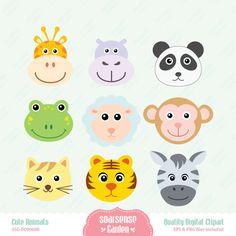 Cute Animal Faces Digital Clipart - Giraffe, Panda, Cat, Tiger, Frog, Monkey