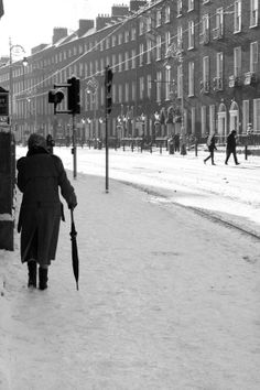 Harcourt Street in the snow Art print, Dublin, Black and White Photography, wall art, Old Pictures, Old Photos, Dublin House, Dublin Street, Irish Landscape, Castles In Ireland, Irish Culture, Snow Art, Foggy Morning