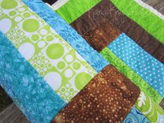 Baby Quilt Modern Boy Girl Stripes Blue by KarlaKayCreations, $100.00. Love the colors, and how the brown is shimmery!