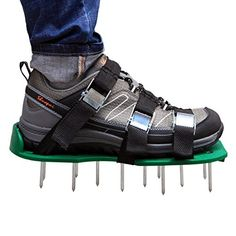 Lawn Aerator Shoes, Autley Lawn Aerator Sandals with 3 Straps, Zinc Alloy Metal Buckles and Heavy Duty Spikes for Aerating Lawn or Yard *** See this awesome image : Gardening DIY Tractor Supplies, Metal Buckles, Modern Design, Sandals, Diy, Shoes, Lawn Games, Yard, Hand Tools