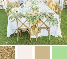 gold wedding color palette from the summer #myweddingmag - click to see more inspirational summer wedding themes!