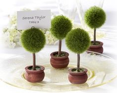 """Create a glorious garden of elegant, deep-green topiaries atop your wedding reception tables with these Topiary Photo Holders/Place Card Holders! An incredibly decorative wedding favor, the flourishing, finely manicured, green topiary rises from a beautifully crafted, dark-wood planter, ready to display a favorite photo or place card. The topiaries, which come in sets of four, measure 4"""" h x 2"""" w. #weddingfavors"""