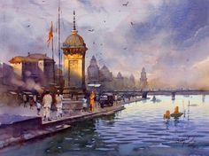 Kai Fine Art is an art website, shows painting and illustration works all over the world. Watercolor Scenery, Watercolor City, Watercolor Landscape Paintings, Watercolor Artwork, Gouache Painting, Realistic Paintings, Cool Paintings, Beautiful Paintings, Watercolor Architecture