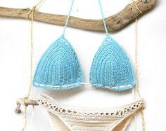 Crochet bralette and crochet shorts in cream Bridal by MarryG