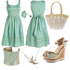 Mira que lindo esto: Lo podes armar con el vestido que tenes, agregando detalles al tono a las sandalias que ya tenias y con un toque en el bolso de mano, super facil de combinar y si no animate al verde agua queda muy bien para pieles bronceadas