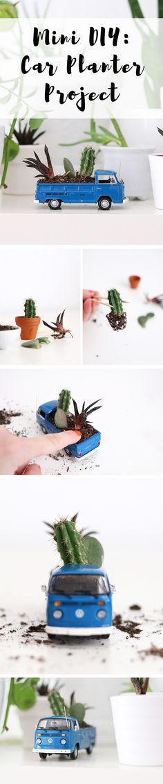 """Come and join us for an easy and super fun creative project and get inspiration for how to make a mini car planter. Volkswagen, Luloveshandmade and many other bloggers share even more inspiration in the """"DIY Bloggers for Volkswagen""""-board: https://de.pinterest.com/volkswagen/diy-bloggers-for-volkswagen/"""