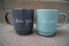 teal and gray mugs/tea cups. i love you. i know. on Etsy, $26.50 Present for my grandparents :P