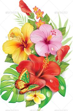 Bouquet of tropical flowers. Included files: .eps (10 version), jpeg.