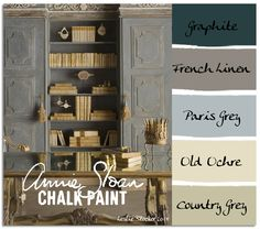COLORWAYS  These built in shelves and cabinets have a rich depth and deep coloration that can be duplicated with Annie Sloan Chalk Paint. The key is to not use just one color. Rather, layer the colors to bring out the subtle shades and highlights.