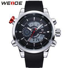 WEIDE Fashion Watches Men Luxury Brand  Quartz Hour Analog Digital Sports Watch High Quality PU Rubber Band Wrist Watch / WH3401
