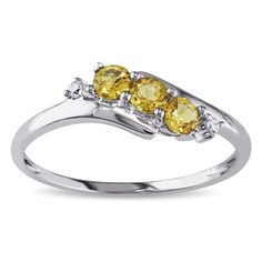Miadora 10k White Gold Citrine and Diamond Curved Ring (10k White Gold .018ct Diamond and Citrine Ring), Women's, Size: 3.5, Yellow