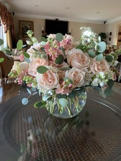 Bubble bowl full of peach and white stock and garden roses. Vase Arrangements, Wedding Flower Arrangements, Floral Centerpieces, Flower Bowl, Flower Vases, White Wedding Decorations, Stock Flower, Indoor Flowers, Peach Flowers