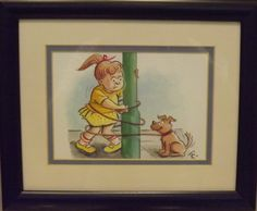 """""""Taking Rover for a walk"""" is composed in watercolour, encased in cobalt frame, 30cm x 25cm. For sale at www.art-style-gallery.co.uk"""